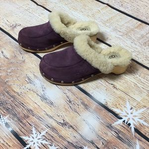 UGG suede and shearling clogs